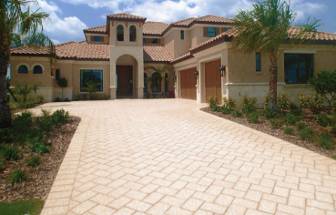 Driveway pavers on installation completed on a house in Florida.